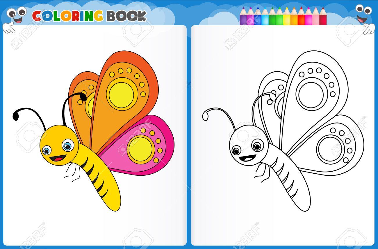 Dibujo Para Colorear Mariposa Con Colorido Hoja De Trabajo Imprimible Muestra Para Los Niños De Preescolar Jardín De Infantes Para Mejorar Las