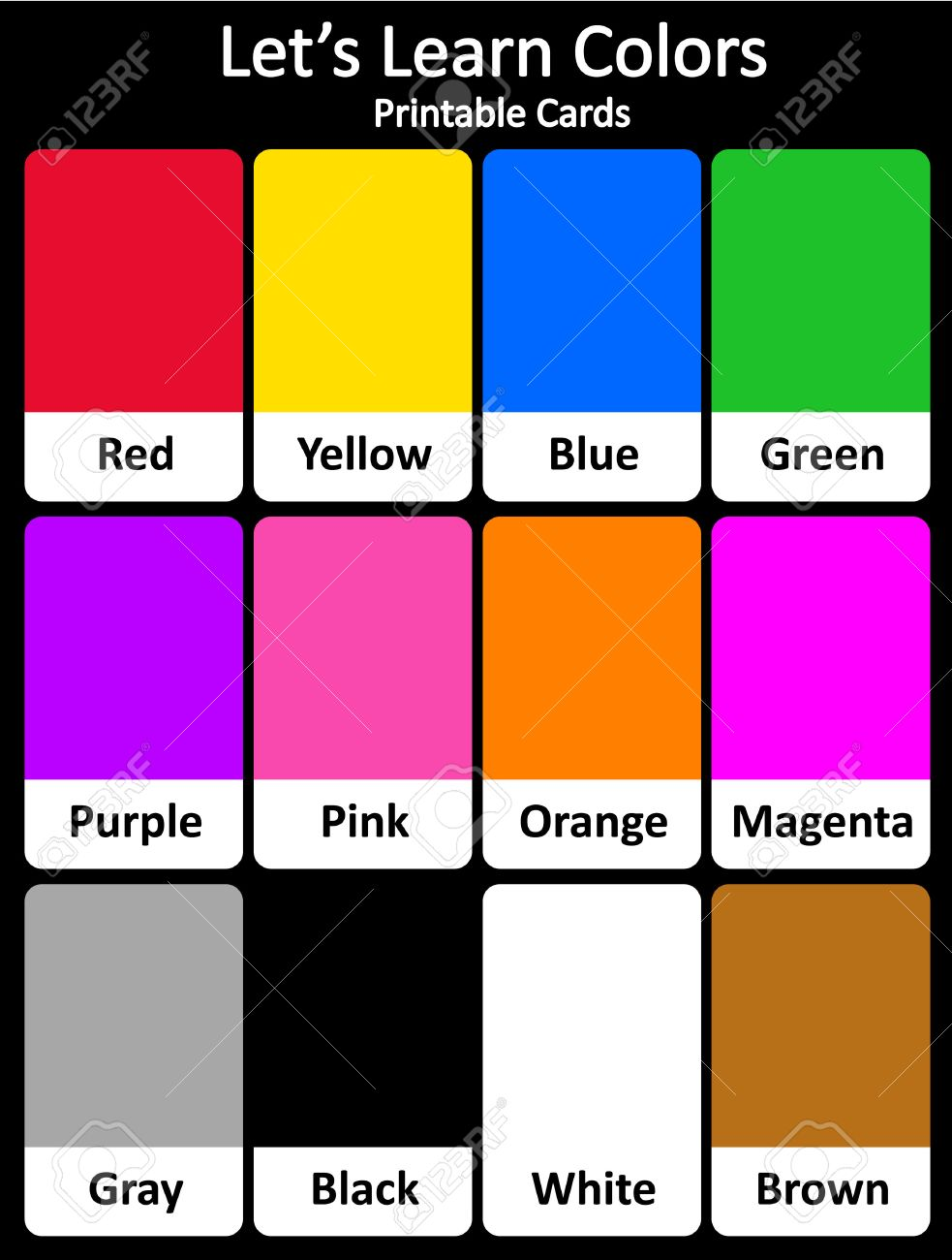 printable flash card colletion for colors and their names for