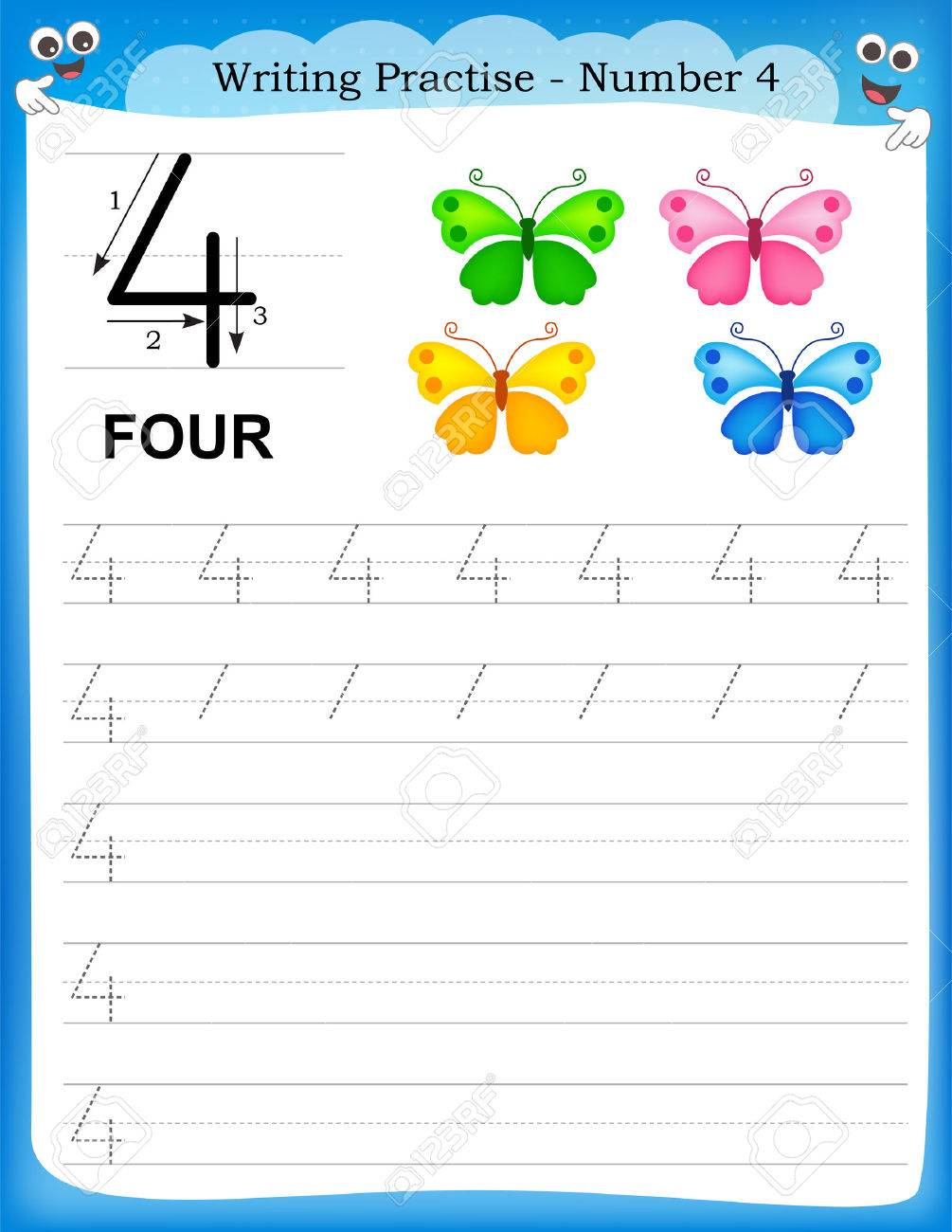 Writing Practice Number Four Printable Worksheet For Preschool ...
