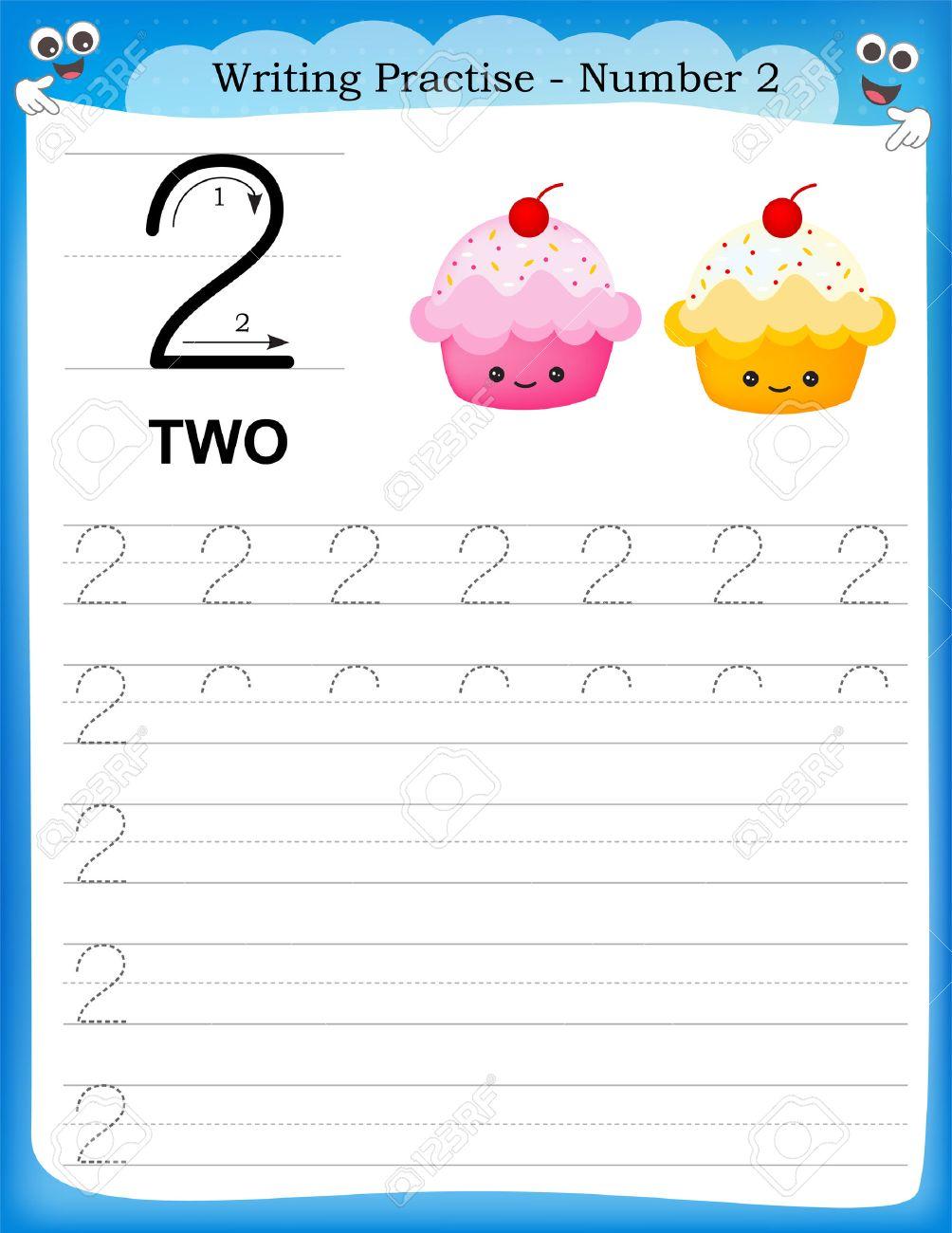 Writing Practice Number Two Printable Worksheet For Preschool ...