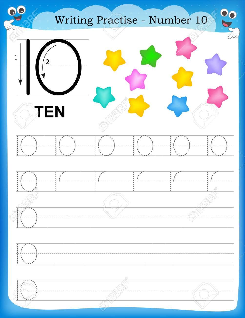 writing practice number ten printable worksheet for preschool