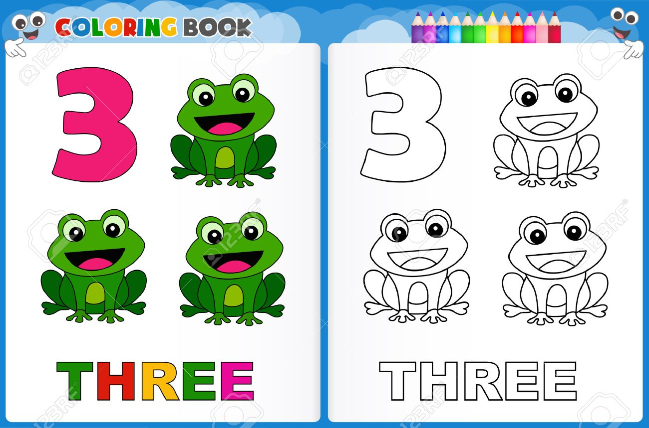 Coloring Page Number Three With Colorful Sample Printable Worksheet ...