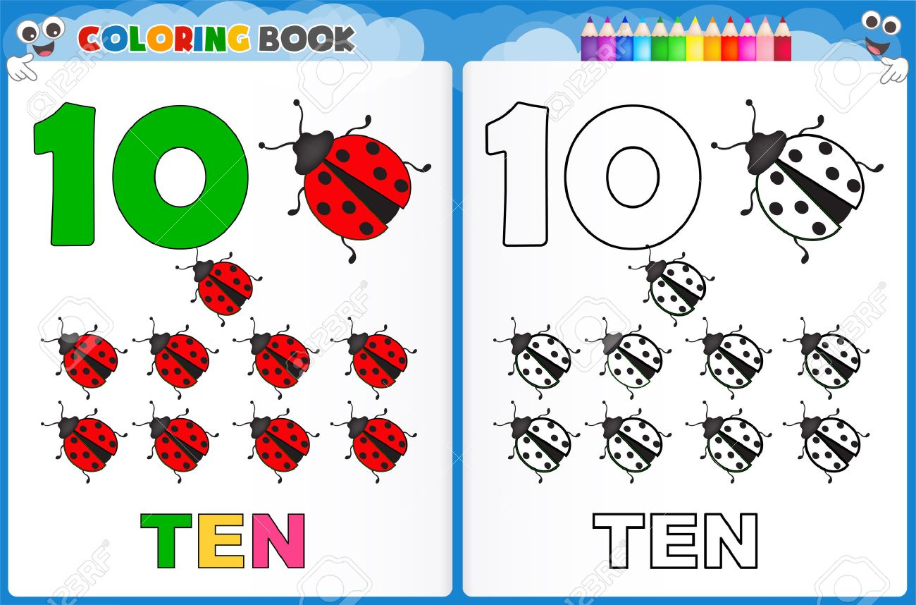 coloring page number ten with colorful sample printable worksheet for preschool kindergarten kids to improve