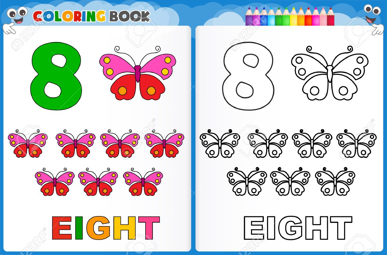 coloring page number eight with colorful sample printable