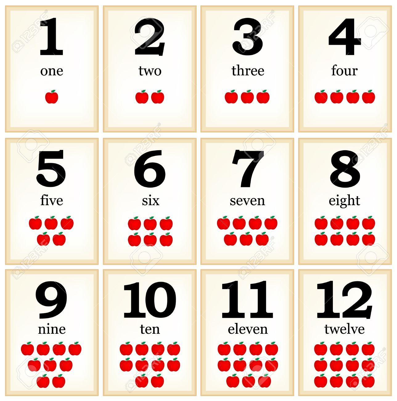 Druckbare Flash-Karte Colle Für Zahlen Mit Äpfeln Für Die Vorschule ...