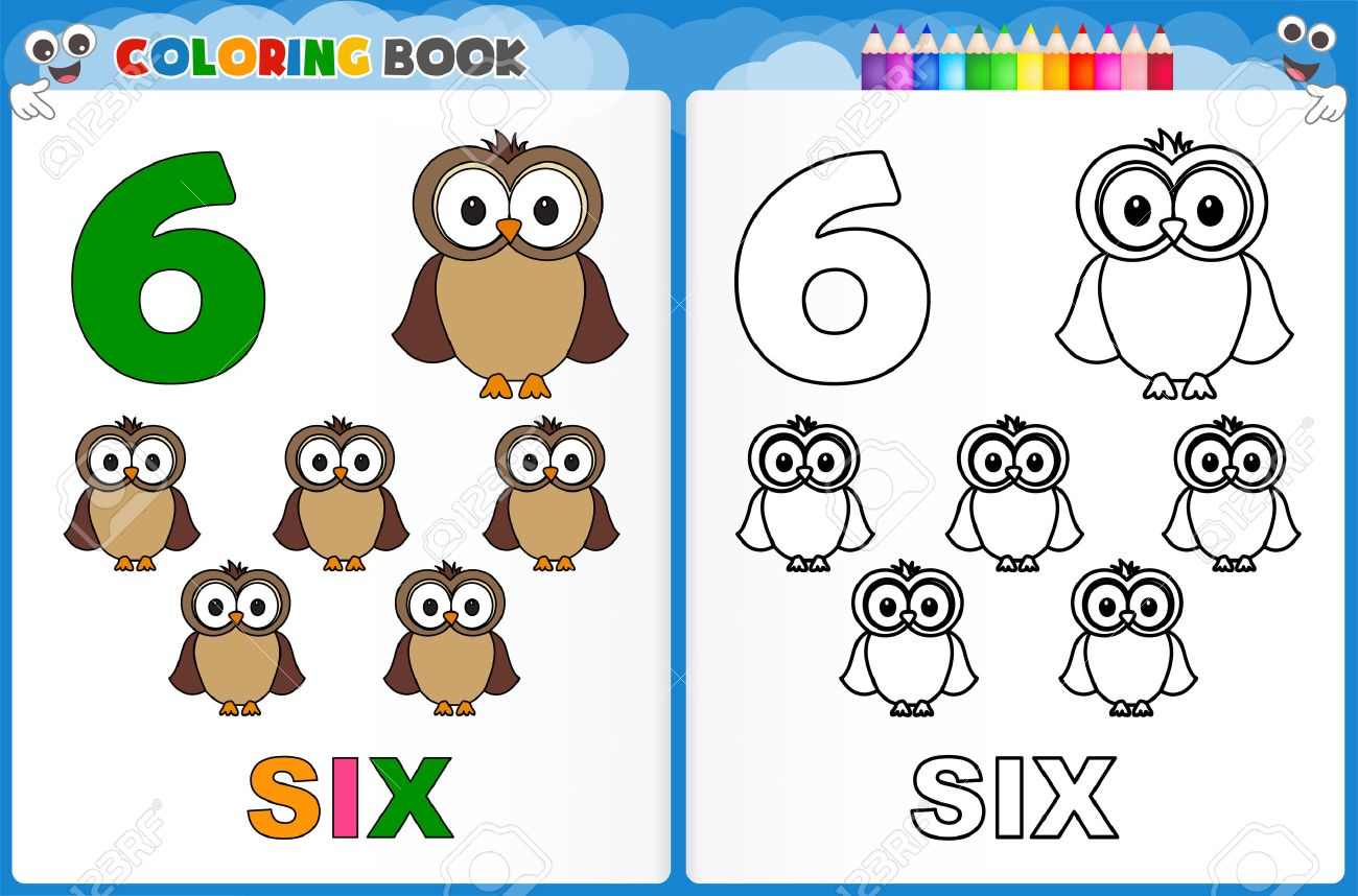 Coloring Page Number Six With Colorful Sample Printable Worksheet ...