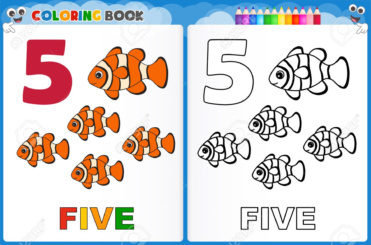 coloring page number five with colorful sample printable worksheet