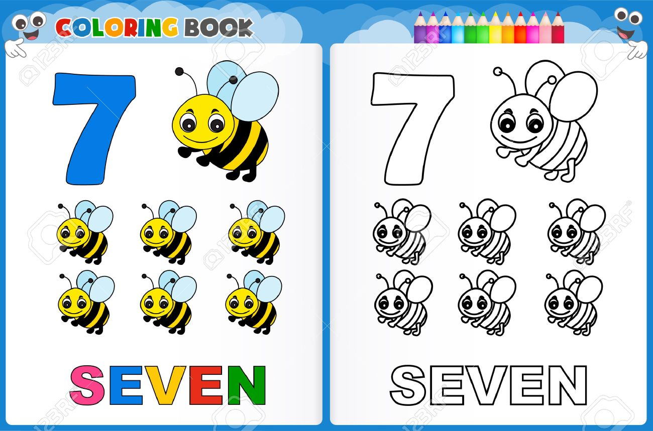 coloring page number seven with colorful sample printable
