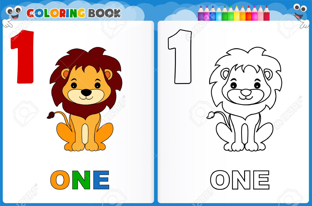 coloring page number one with colorful sample printable worksheet