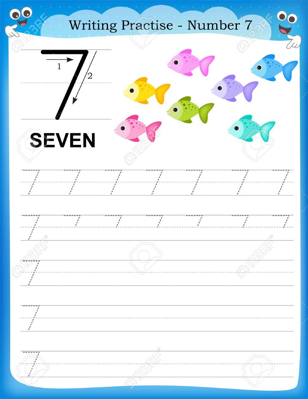 Writing Practice Number Seven Printable Worksheet For Preschool – Kindergarten Number Writing Practice Worksheets