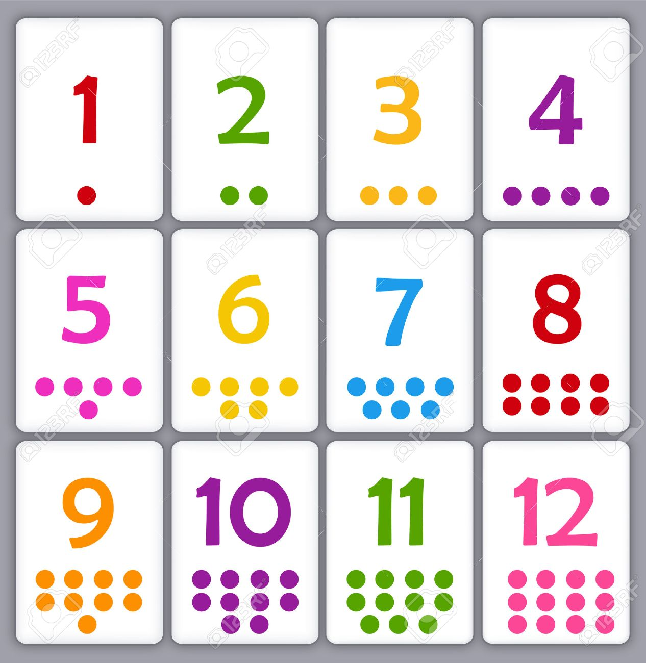 printable flash card colletion for numbers with dots for preschool
