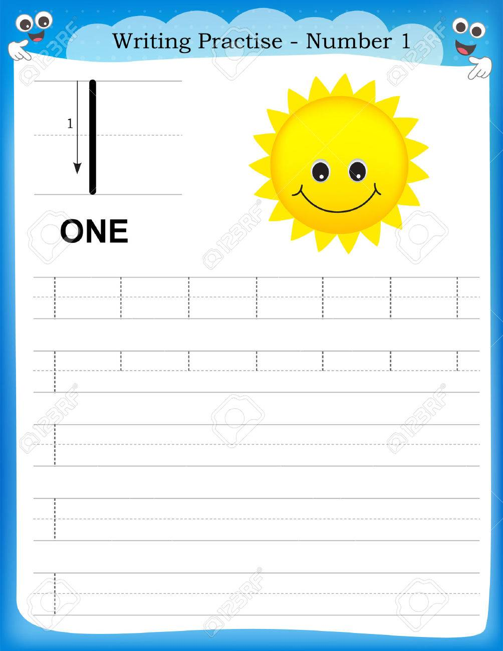 Writing Practice Number One Printable Worksheet For Preschool ...