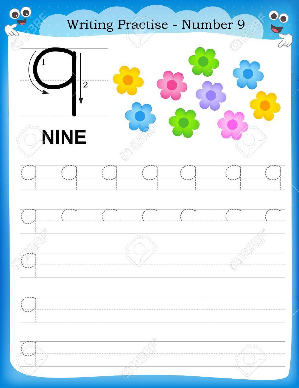 Writing Practice Number Nine Printable Worksheet For Preschool ...