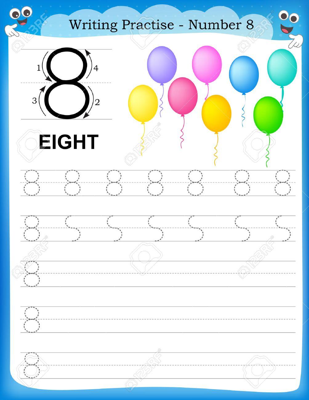 Writing Practice Number Eight Printable Worksheet For Preschool ...