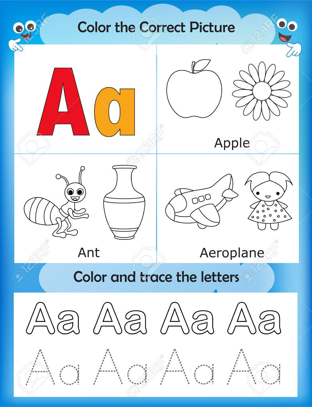 Alphabet Learning Letters Coloring Graphics Printable Worksheet For Preschool Kindergarten Kids Letter A