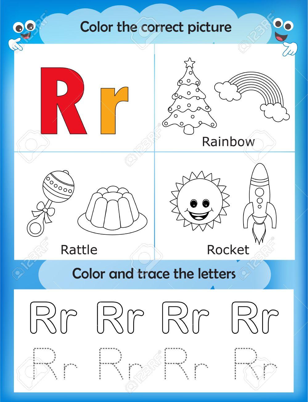 Las Letras Del Alfabeto De Aprendizaje Y De Gráficos Para Colorear Hoja De Trabajo Imprimible Para Los Niños Del Preescolar Letra R
