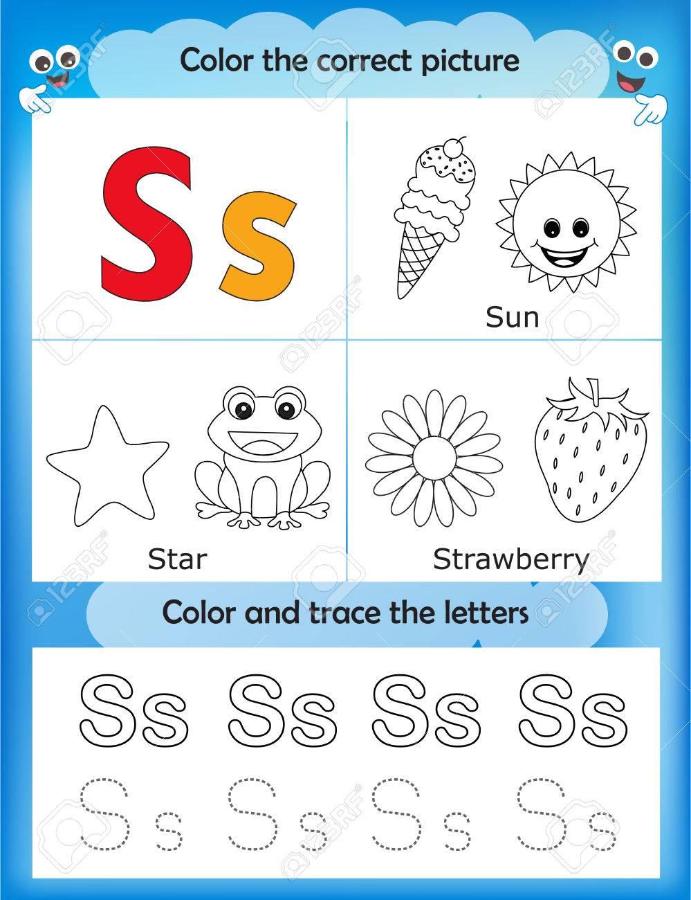 Las Letras Del Alfabeto De Aprendizaje Y De Gráficos Para Colorear Hoja De Trabajo Imprimible Para Los Niños Del Preescolar Letra S