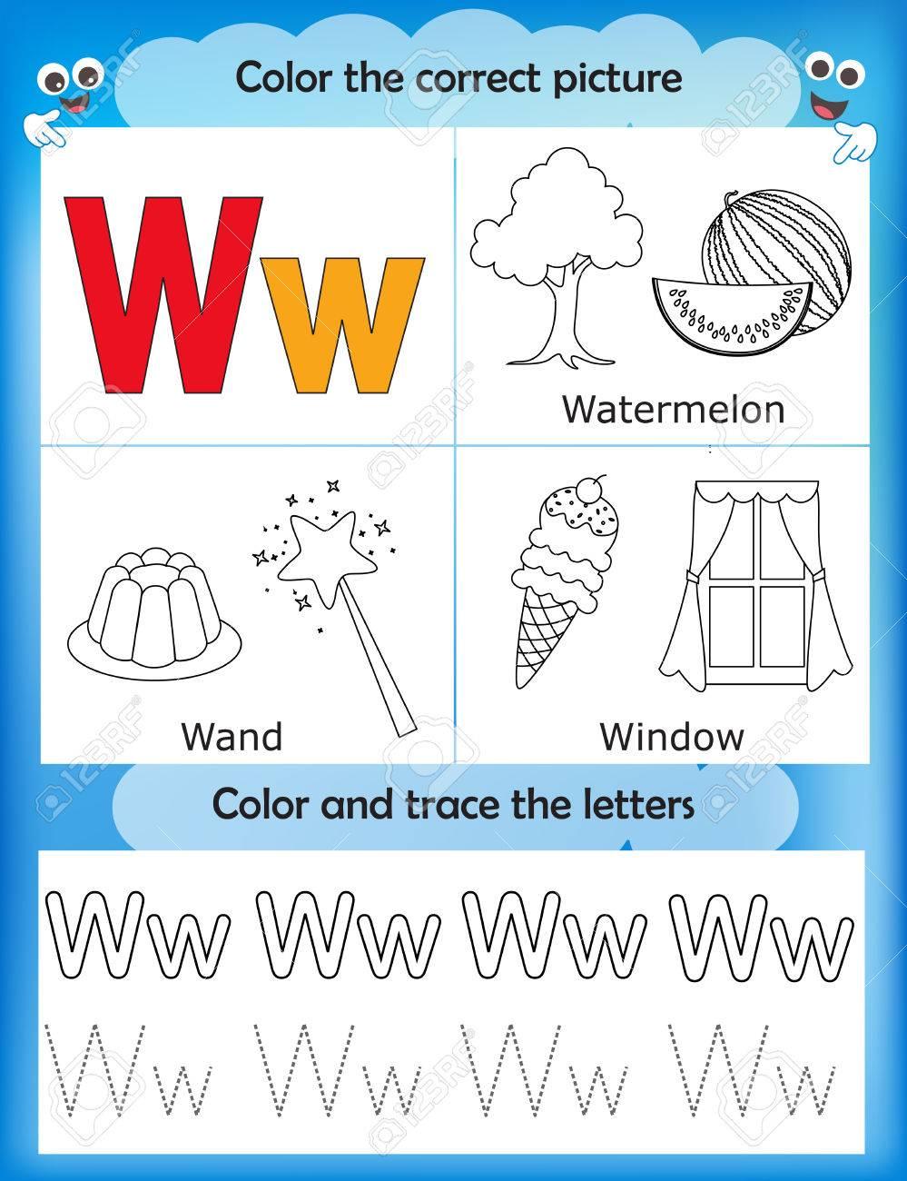 Las Letras Del Alfabeto De Aprendizaje Y De Gráficos Para Colorear Hoja De Trabajo Imprimible Para Los Niños Del Preescolar Letra W