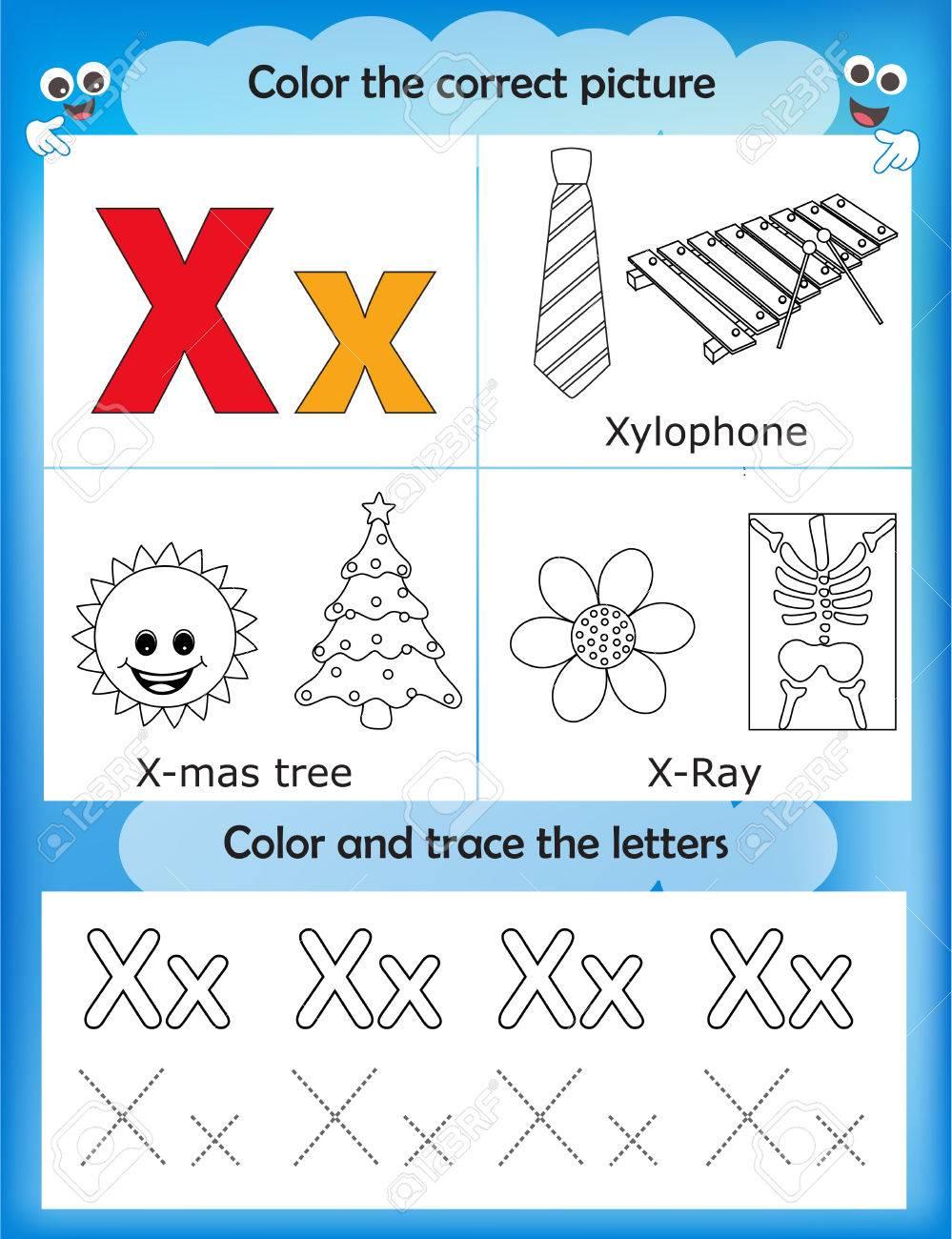Color worksheets kindergarten - Alphabet Learning Letters Coloring Graphics Printable Worksheet For Preschool Kindergarten Kids Letter X
