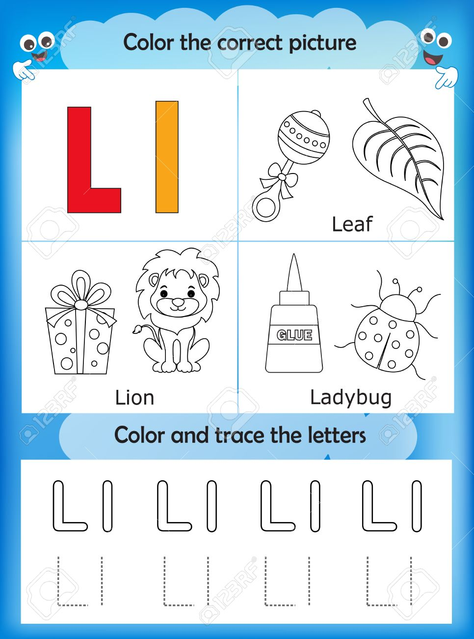 Alphabet Learning Letters Coloring Graphics Printable Worksheet For Preschool Kindergarten Kids Letter L