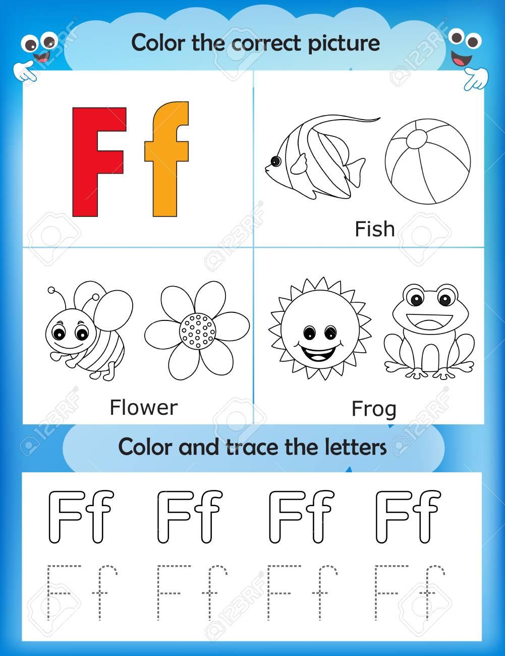 Feuille Dapprentissage Alphabétique Et Lettres à Colorier Pour Enfants Dâge Préscolaire Maternelle Lettre F