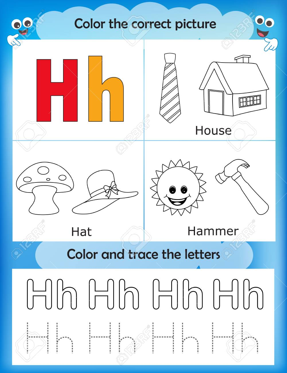 picture regarding Letter H Printable referred to as Alphabet studying letters coloring graphics printable worksheet..