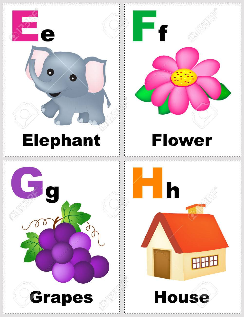 Alphabet printable flashcards collection with letter E F G H
