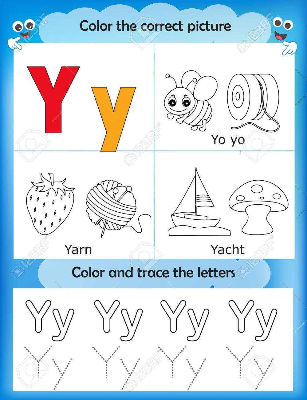 picture relating to Letter Y Printable known as Alphabet discovering letters coloring graphics printable worksheet..