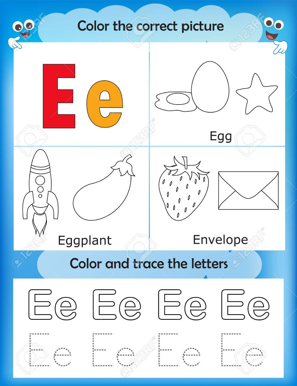 Alphabet learning letters & coloring graphics printable worksheet..
