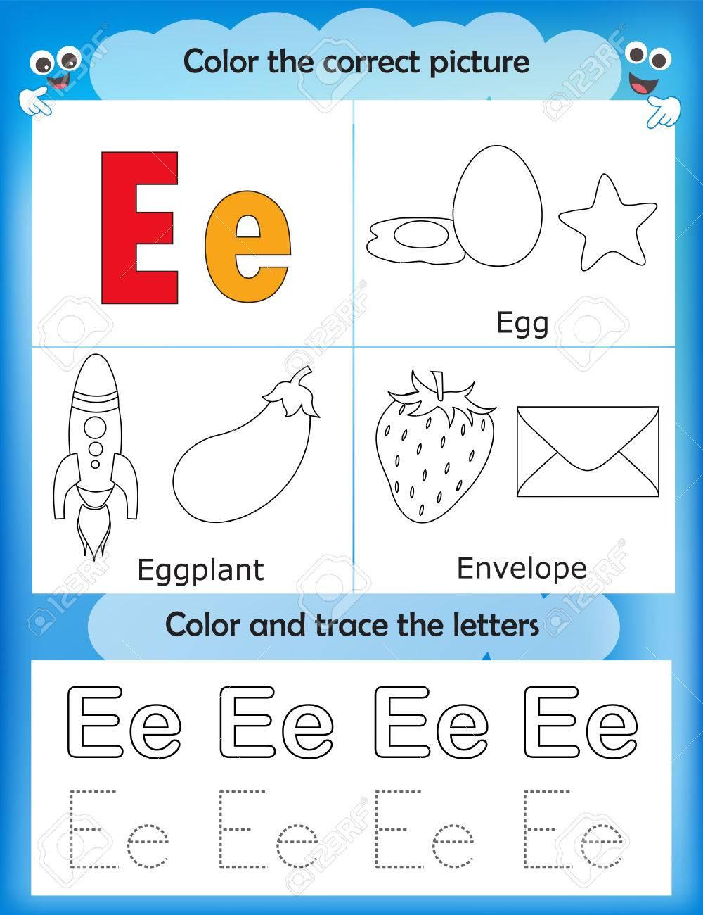 Las Letras Del Alfabeto De Aprendizaje Y De Gráficos Para Colorear Hoja De Trabajo Imprimible Para Los Niños Del Preescolar Letra E