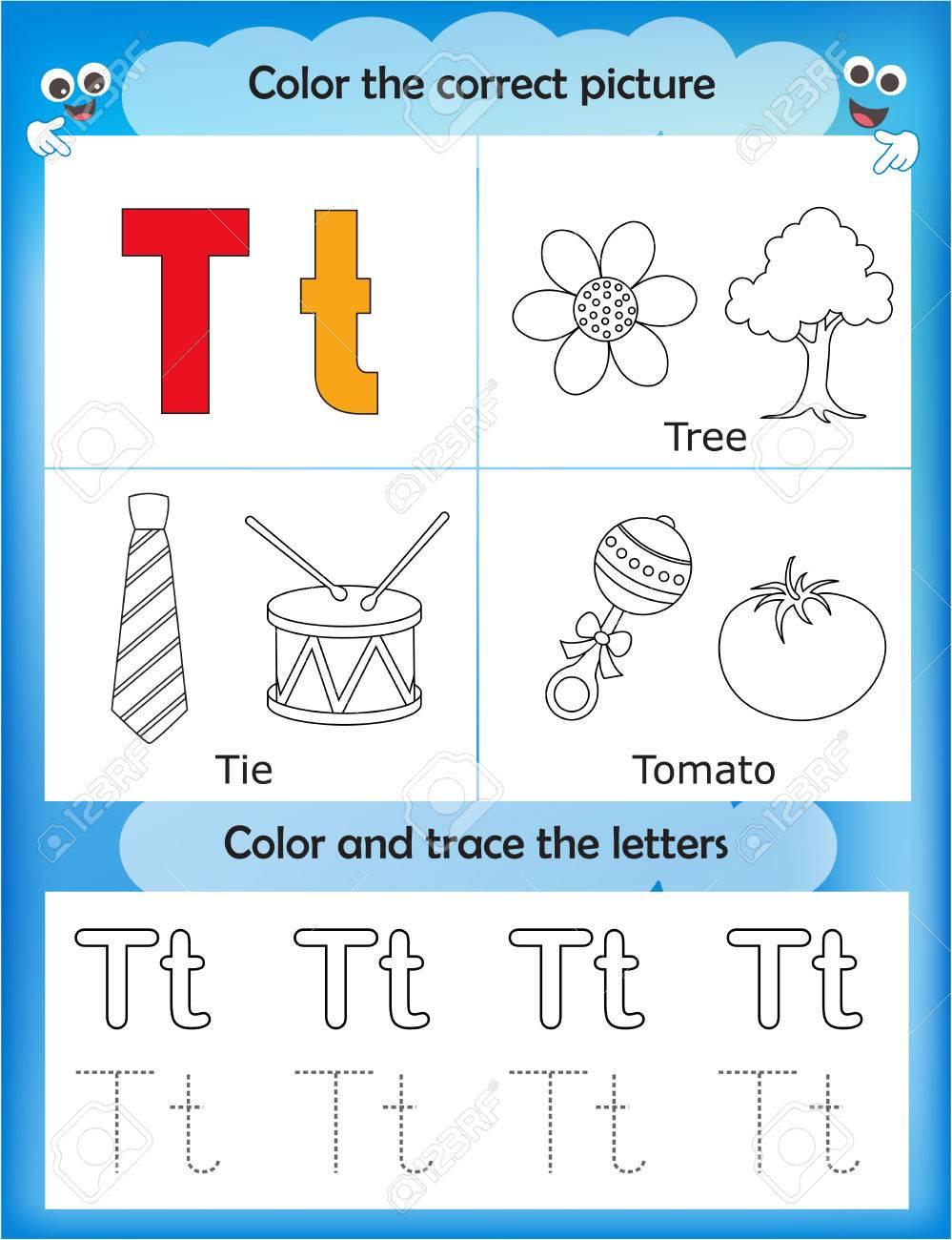Vettoriale Alfabeto Che Impara Lettere E Disegni Da Colorare Per