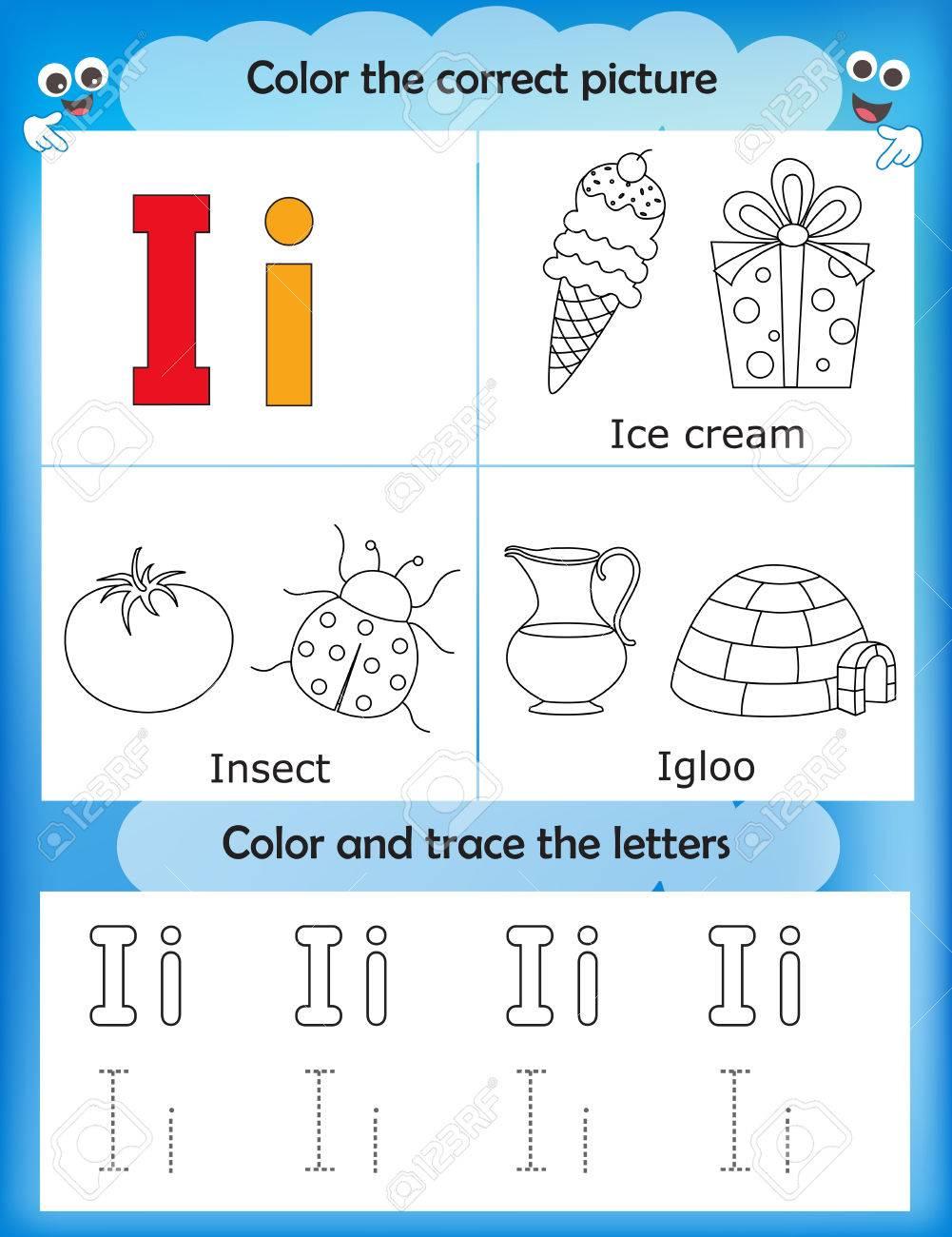 Las Letras Del Alfabeto De Aprendizaje Y De Gráficos Para Colorear Hoja De Trabajo Imprimible Para Los Niños Del Preescolar Letra I