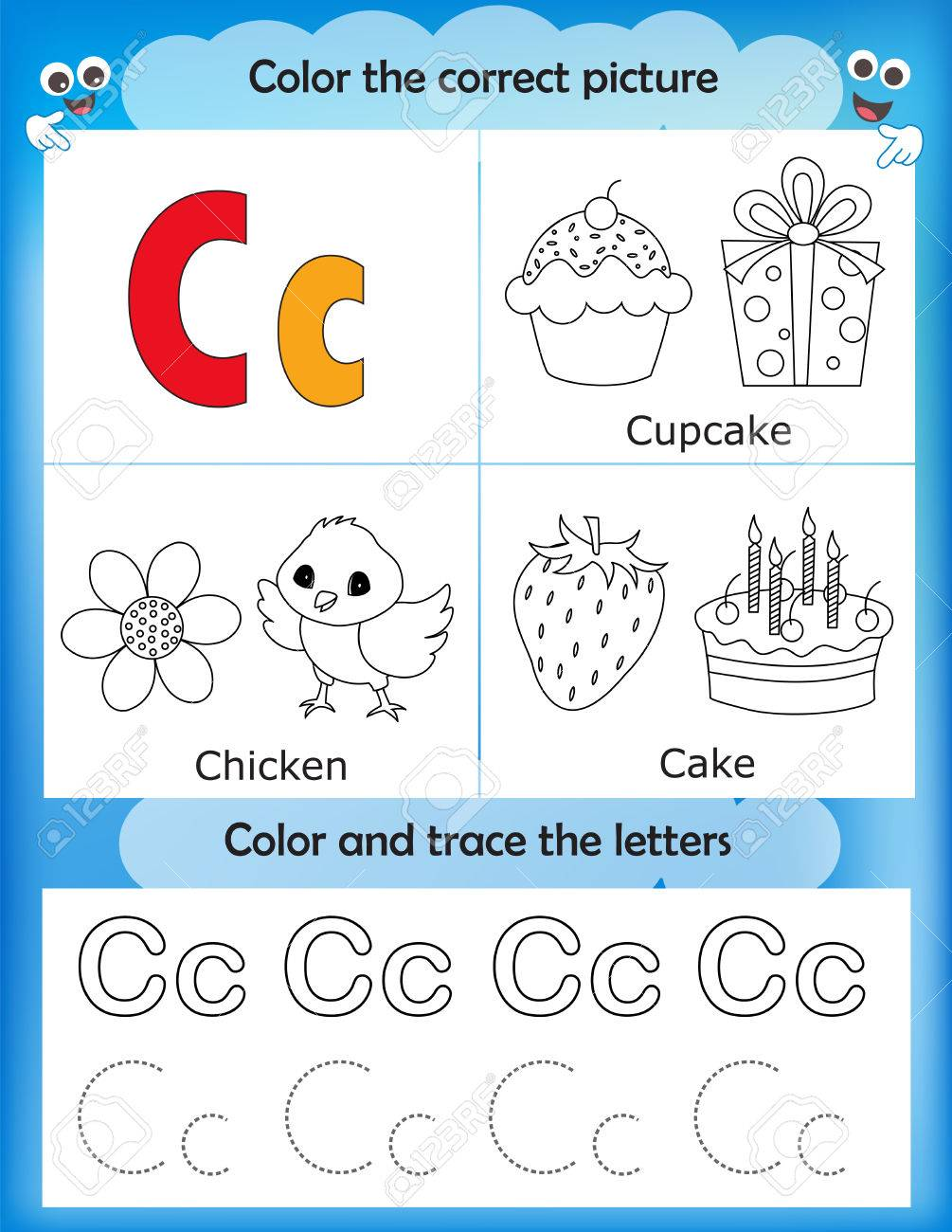 Alphabet Learning Letters Coloring Graphics Printable Worksheet For Preschool Kindergarten Kids Letter C