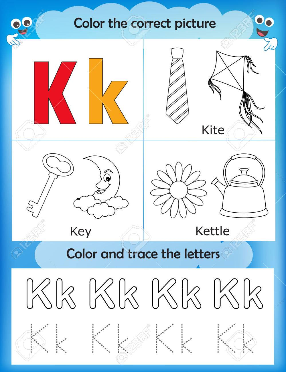 Alphabet Learning Letters & Coloring Graphics Printable Worksheet ...
