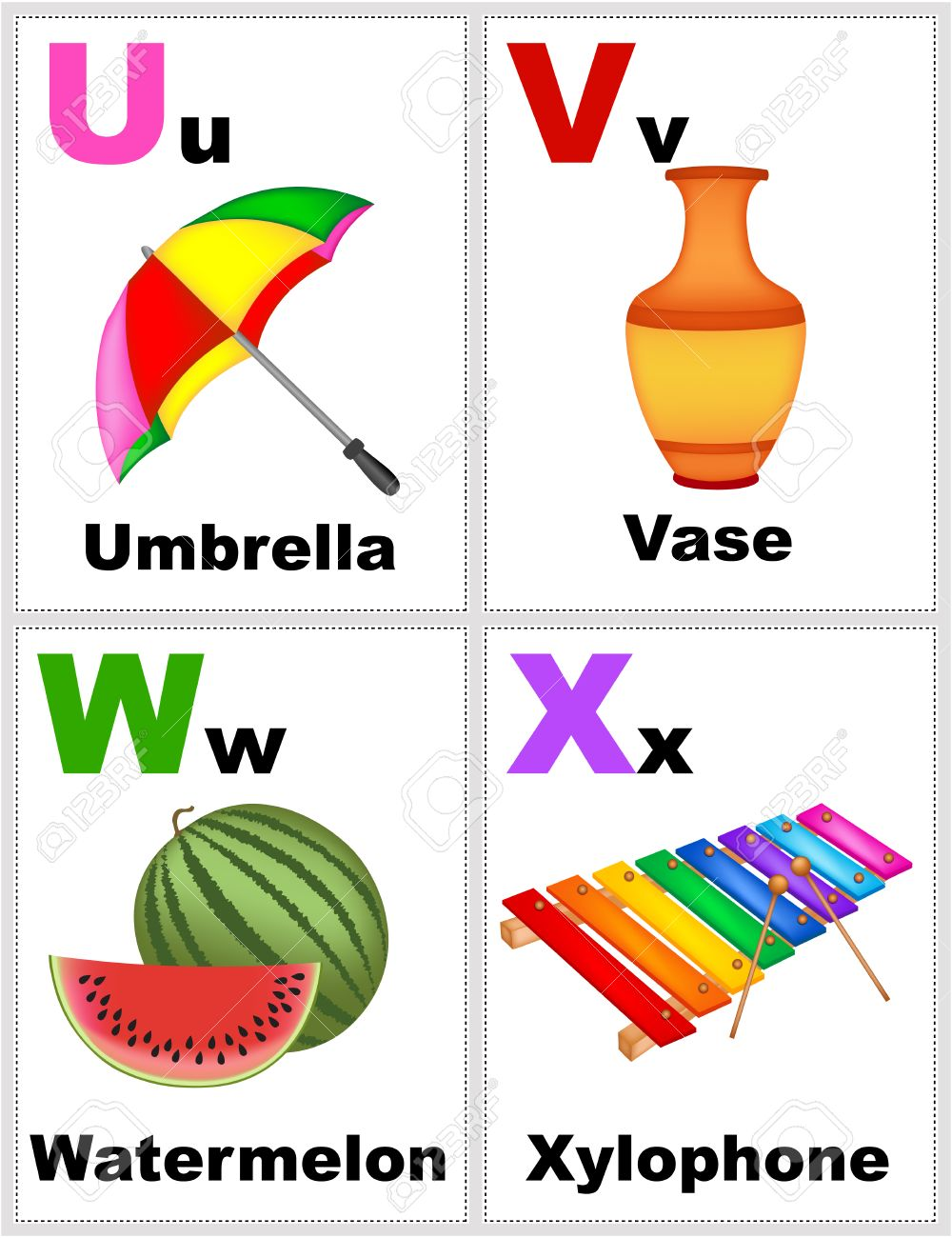 picture about Alphabet Printable Flash Cards named Alphabet printable flashcards selection with letter U, V, W,..