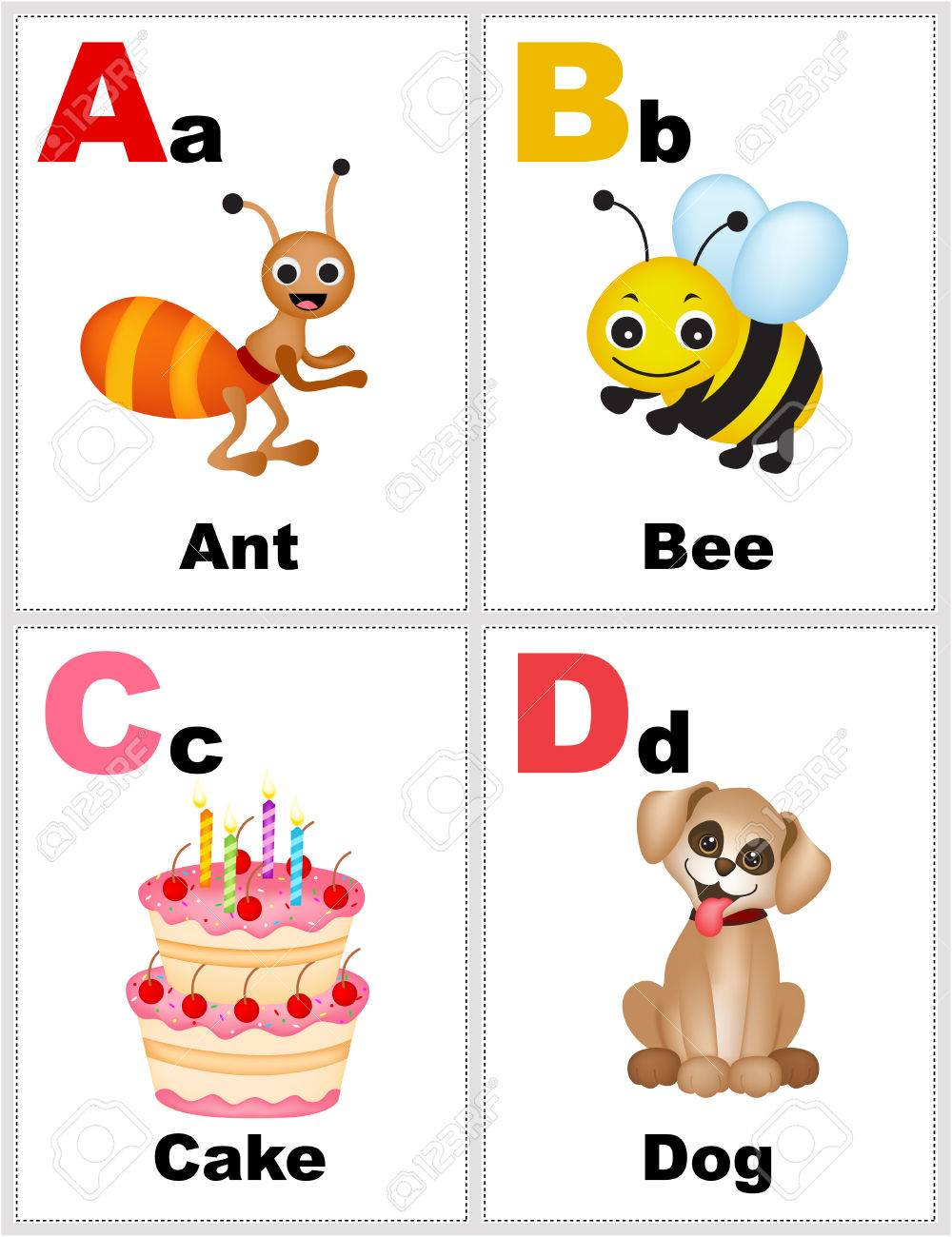 Alphabet printable flashcards collection with letter a,b,c,d..