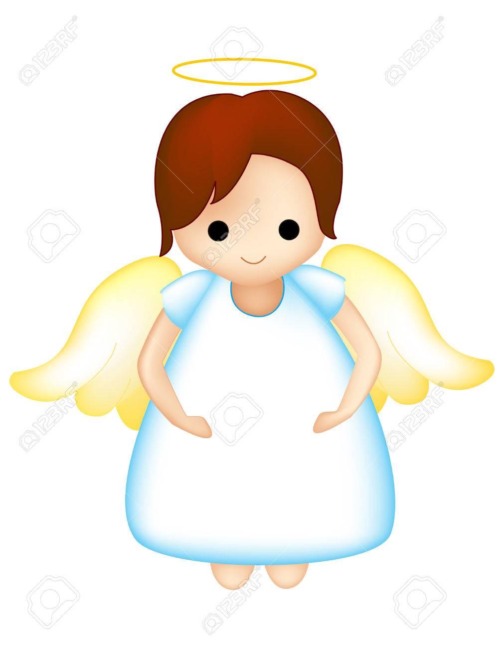 小さな妖精天使クリップアートは白で隔離のイラスト素材ベクタ