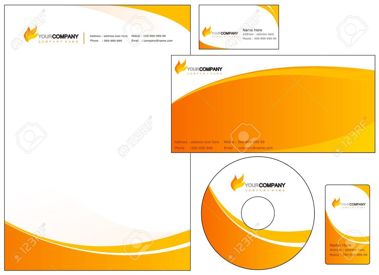 Set of corporate identity items easy to customize letterhead set of corporate identity items easy to customize letterhead envelope cd dvd cover and business reheart Images
