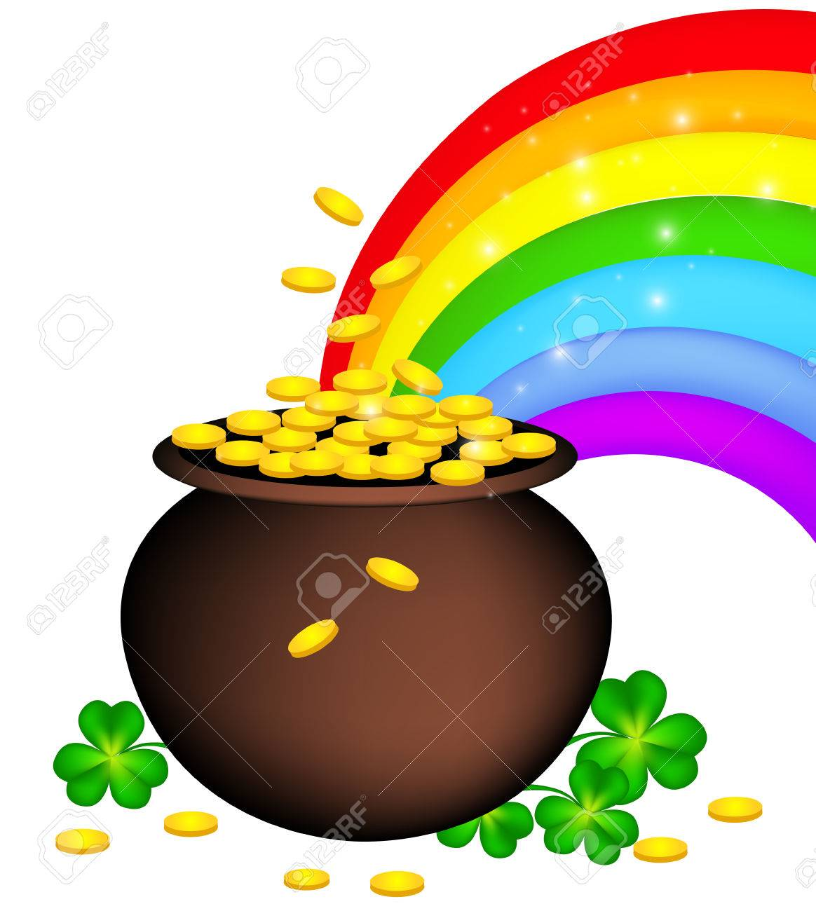 Gold Coin Pot With Shamrock And Rainbow St Patricks Day Design For Good Luck