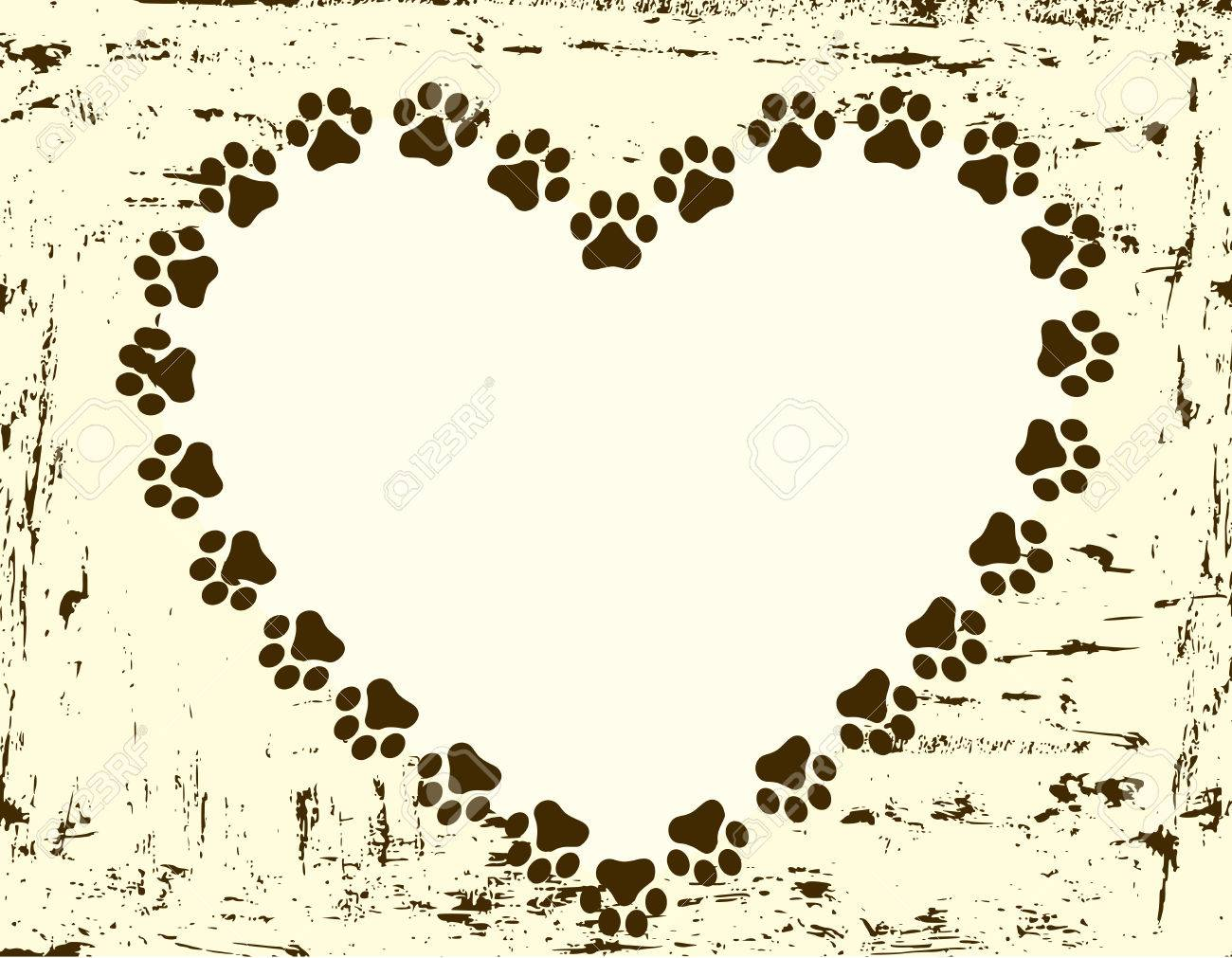 Heart Shaped Paw Print Border / Frame Royalty Free Cliparts, Vectors ...