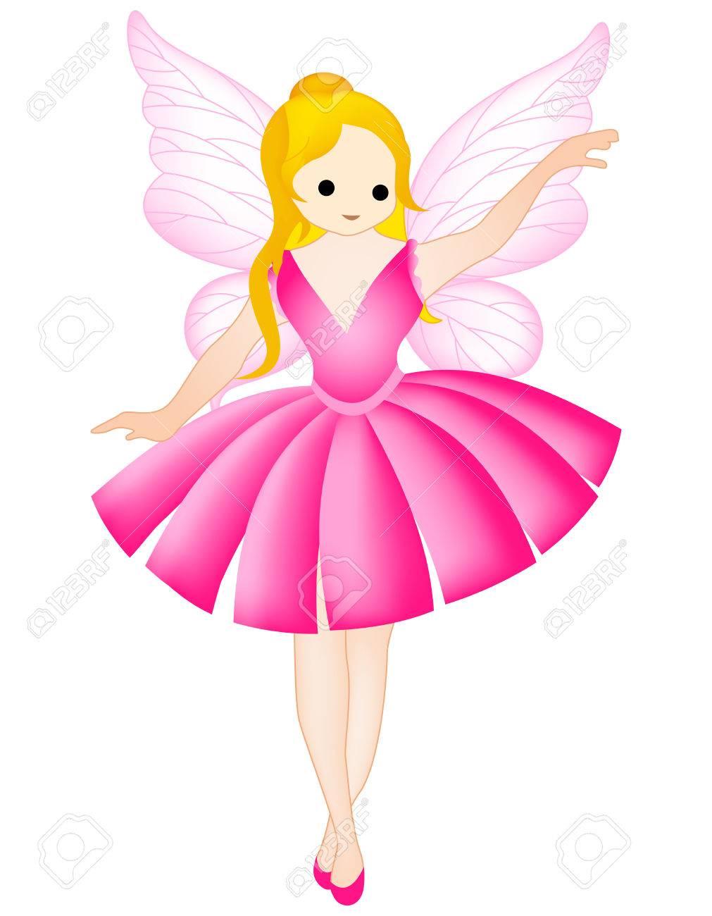 妖精天使クリップアートは白で隔離のイラスト素材ベクタ Image