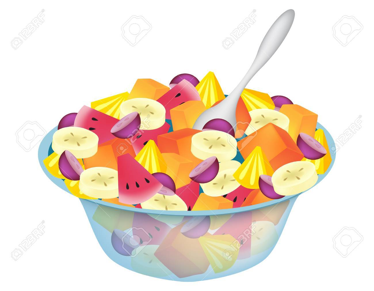 fruit salad bowl isolated on white royalty free cliparts vectors rh 123rf com Cartoon Fruit Salad Animated Fruit Salad