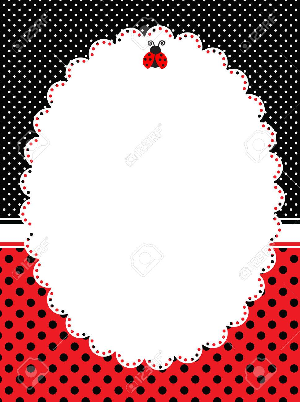 Red And Black Polka Dots Frame / Lady Bug Theme Polka Background ...