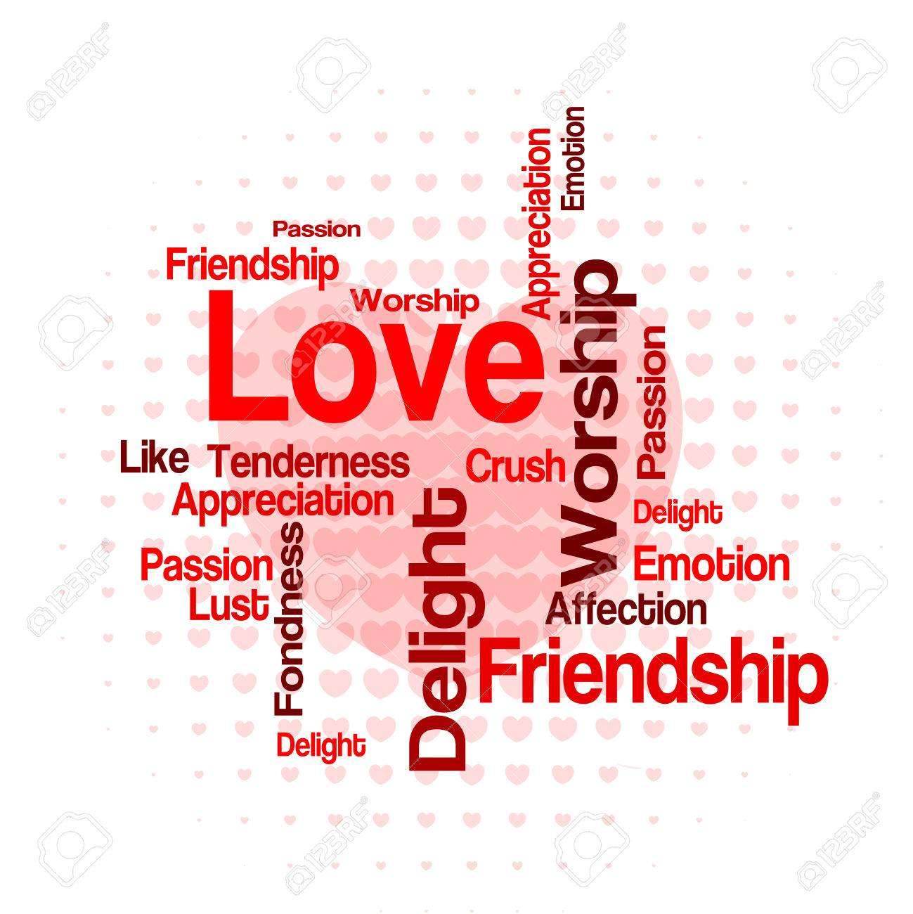 Love Wordcloud Tag Cloud With Different Love Related Words Stock Vector