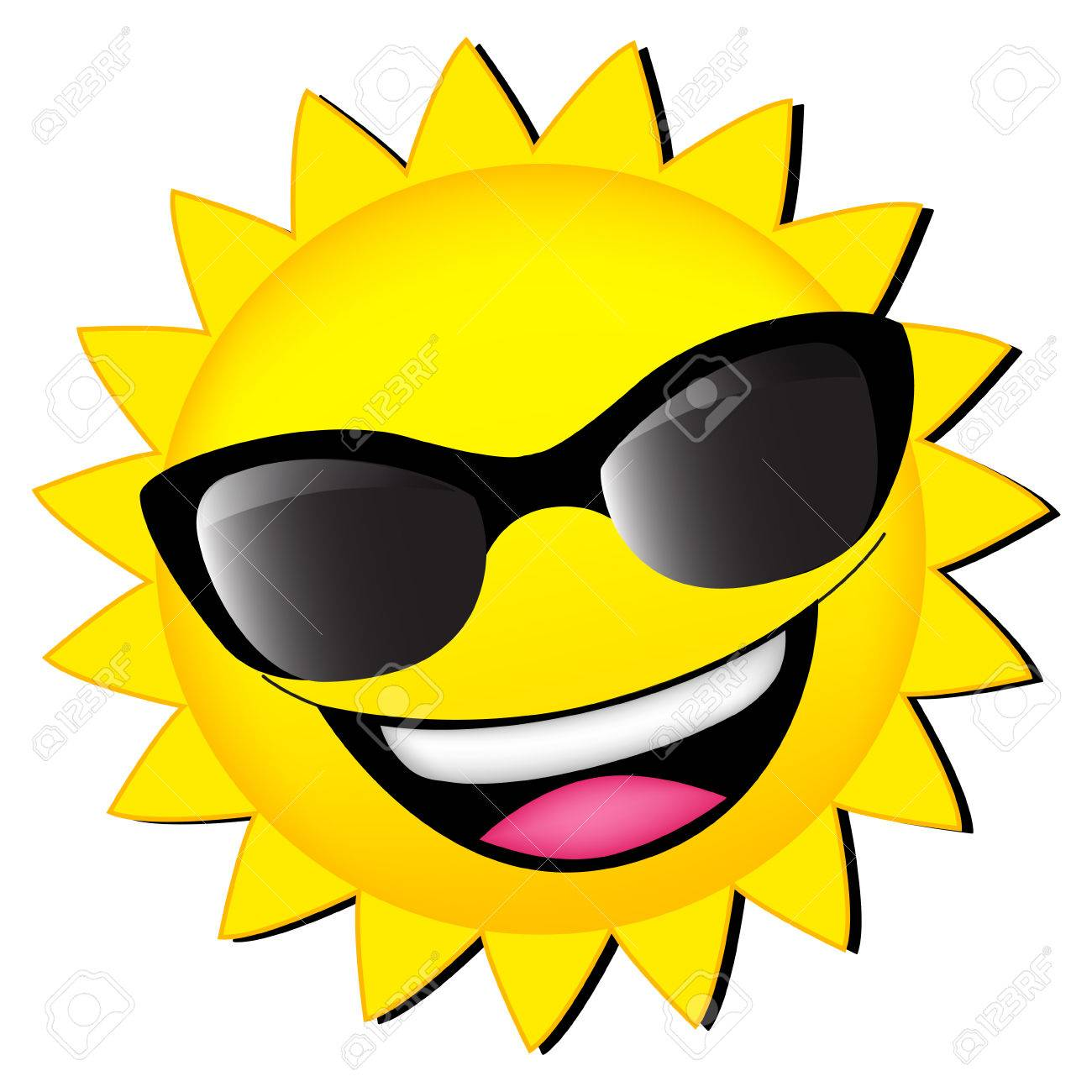 happy sun wearing sunglasses clipart isolated on white royalty free rh 123rf com  happy sun clipart black and white