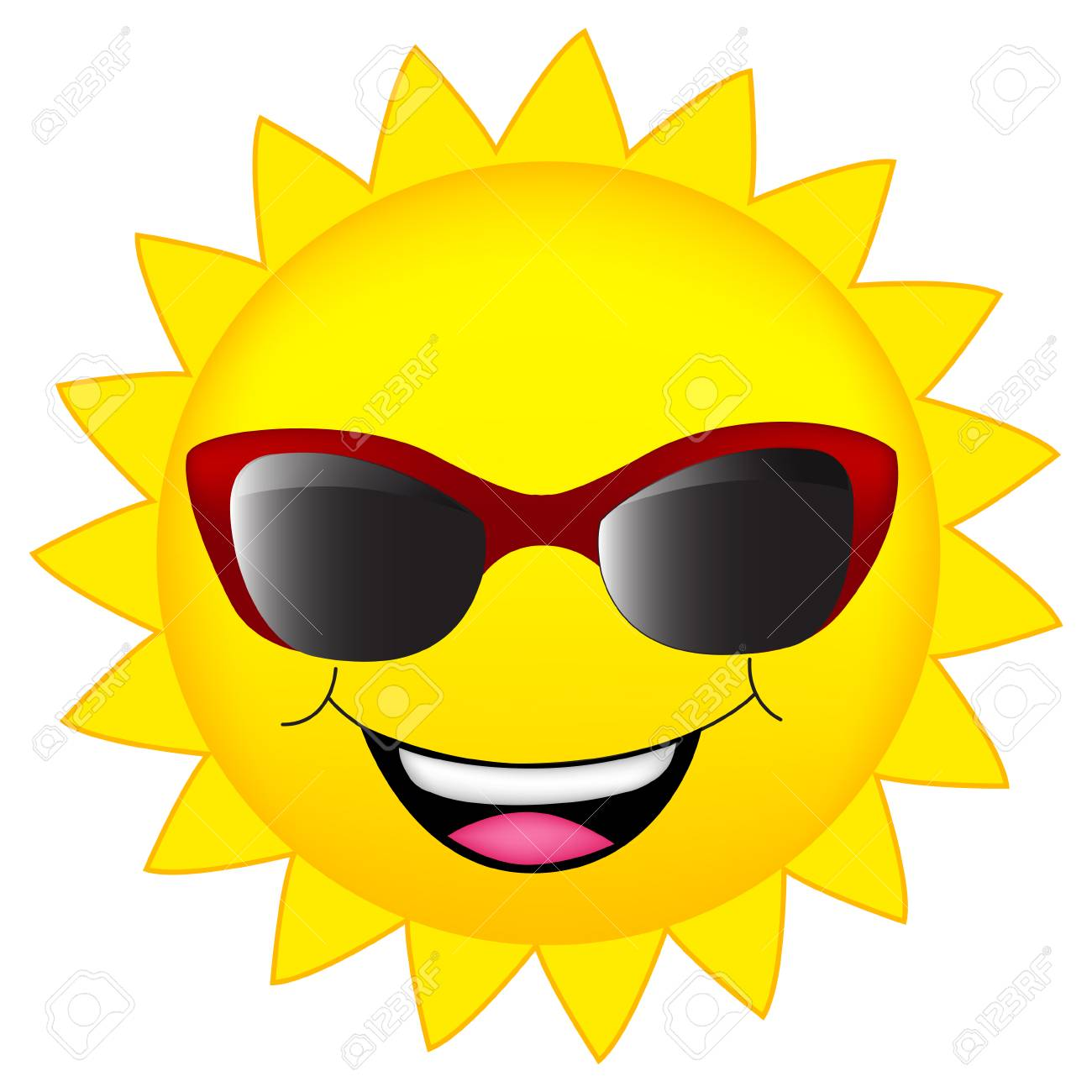 happy sun wearing sunglasses clipart isolated on white royalty free rh 123rf com