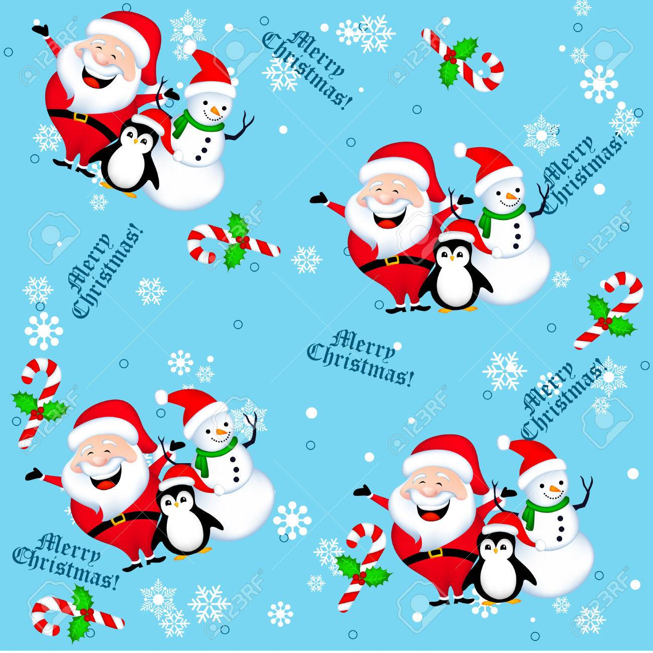 Seamless Background With Santa Snowman Penguin Christmas Tree Royalty Free Cliparts Vectors And Stock Illustration Image 67296692