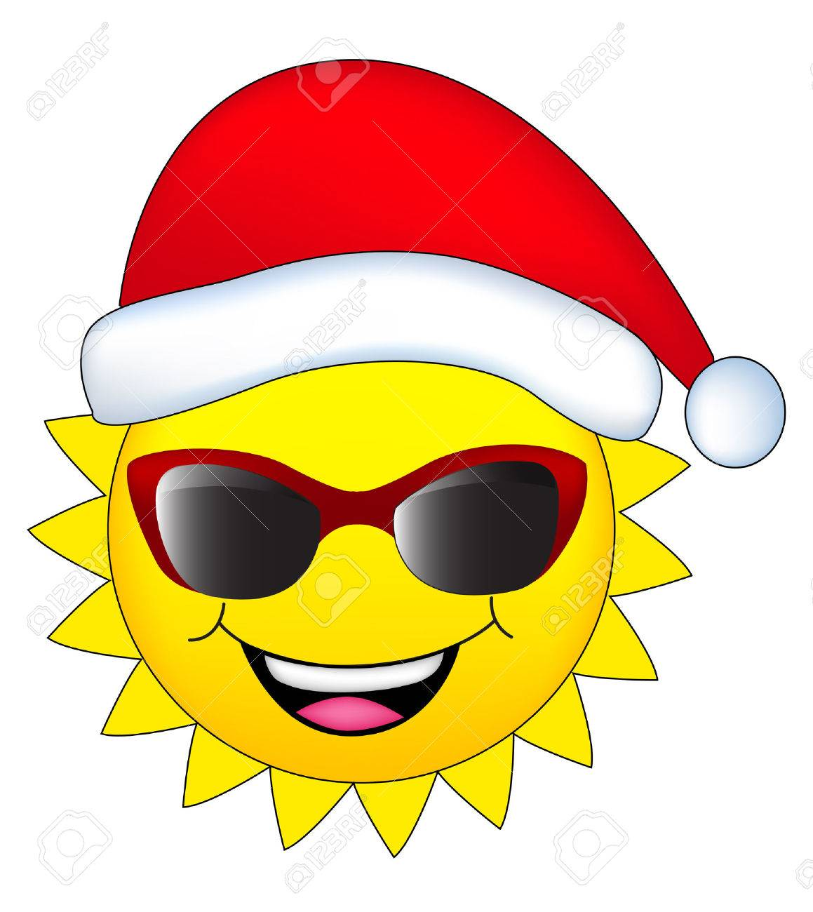 Christmas In July Clipart Free.Cute Sun Wearing A Red Santa Hat Christmas In July Design