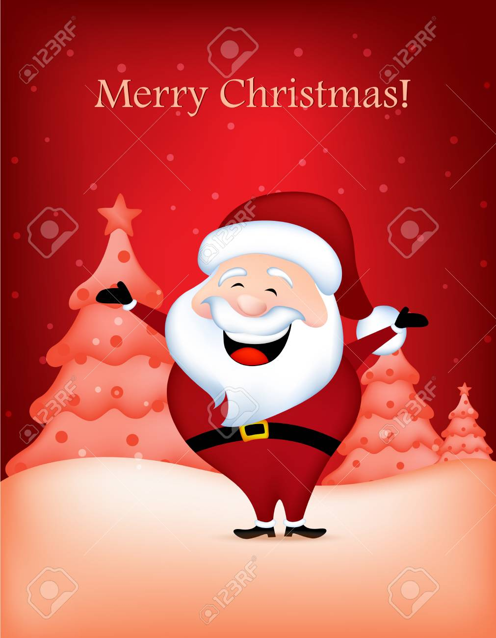 Cute Santa Claus Wishing A Merry Christmas Greeting Card Royalty ...