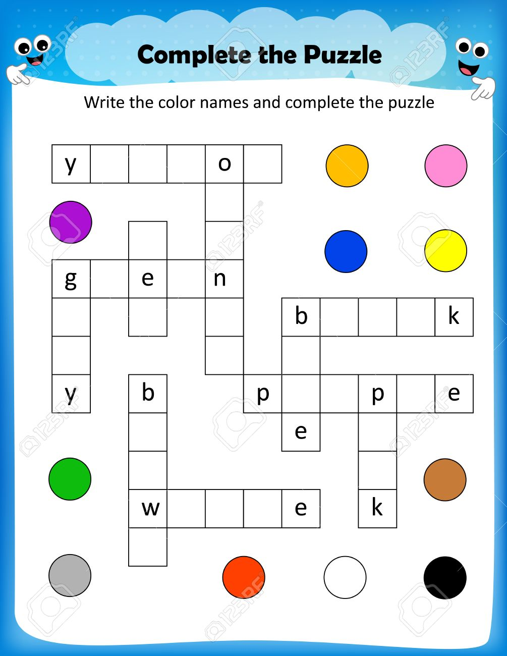 Vector - worksheet - complete the crossword puzzle colors worksheet for preschool kids